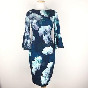 Calvin Klein Size 2 Bell Sleeve Floral Dress